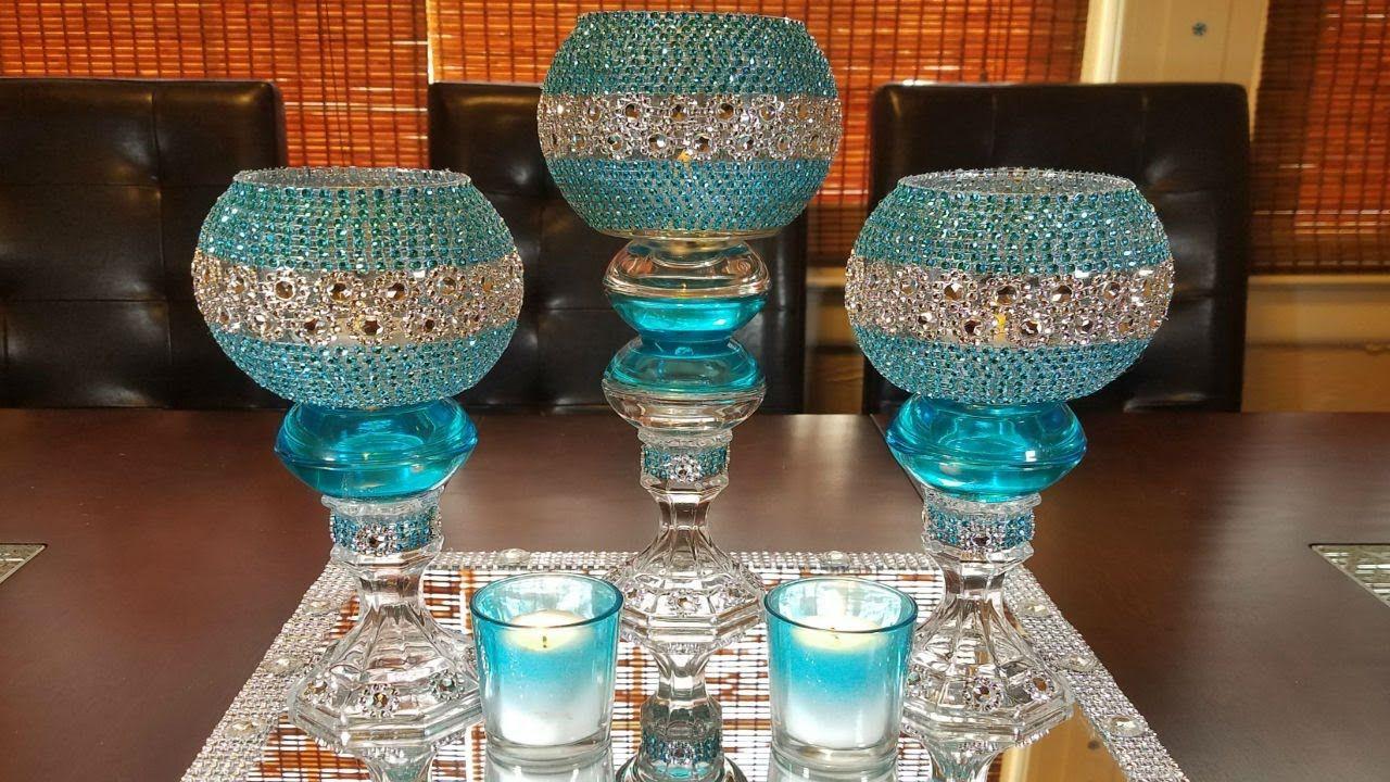 centerpiece ideas DIY glamorous candleholder centerpiece
