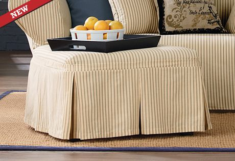 Sure Fit Slipcovers Ticking Stripe Ottoman Slipcovers
