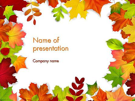 Fall Leaves Border Frame PowerPoint Template plantillas - spring powerpoint template