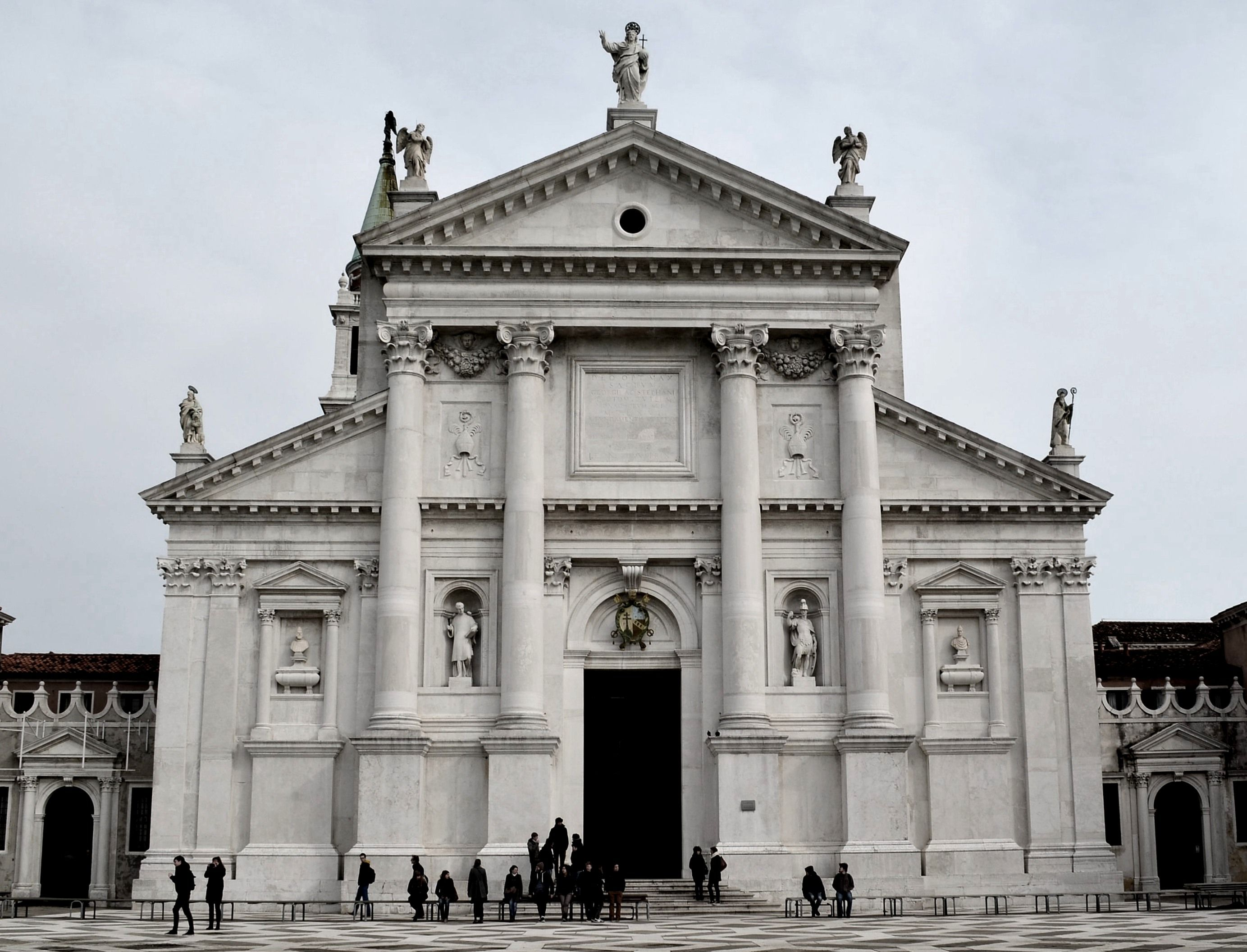 HIGH RENAISSANCE ARCHITECTURE, North Italy; Facade of San Giorgio Maggiore,  Venice, begun 1566, by Palladio. # The central temple front is articulated  with ...