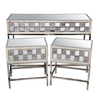 Privilege International Mirror Top 3 Piece Console and End Table Set - 88893  sc 1 st  Pinterest & Privilege International Mirror Top 3 Piece Console and End Table Set ...