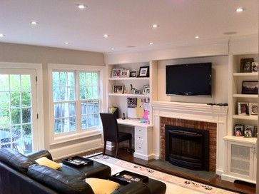 Built In Desk Fireplace Design Ideas Pictures Remodel And Decor Desk In Living Room Fireplace Built Ins Living Room Remodel