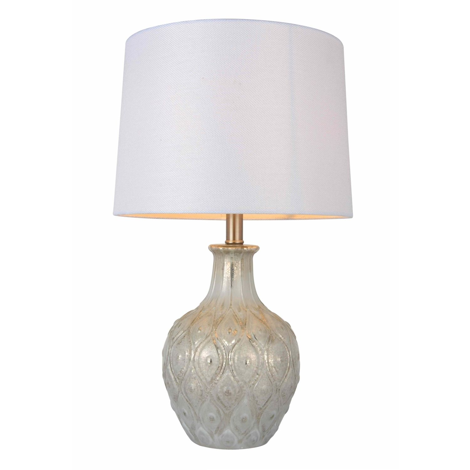 Oozing With Refined Elegance This Adella Glass Table Lamp Has An Ornately Decorated Body With Embossed White Lamp Shade Table Lamp Glass Table Lamp