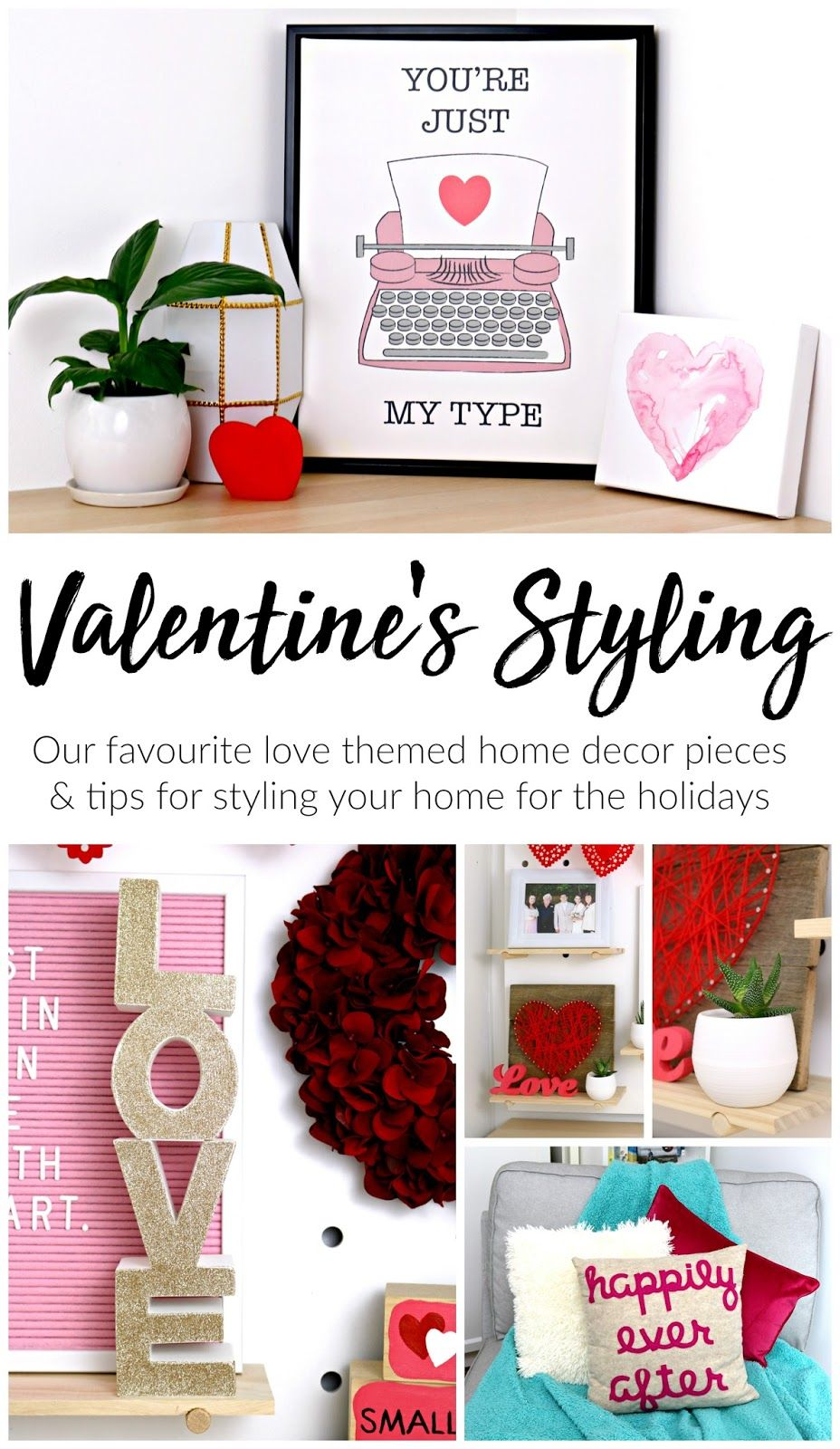 February Styling: My Easy Valentine\'s Day Themed Home Decor | Easy ...