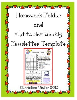 Do you need an instant homework folder and newsletter included in this pack is also template editable teaching rh co pinterest