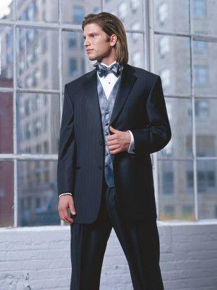 Black Sterling Tuxedo Super 110's Tone on Tone Stripe 2 Button Notch Lapel