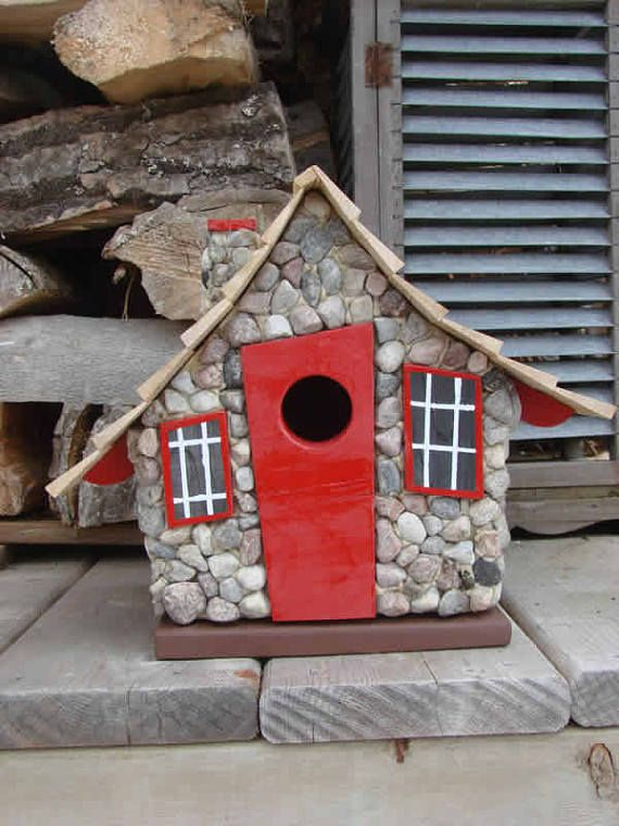 Whimsical Birdhouse Stone Wooden Birdhouse Painted Madáretető