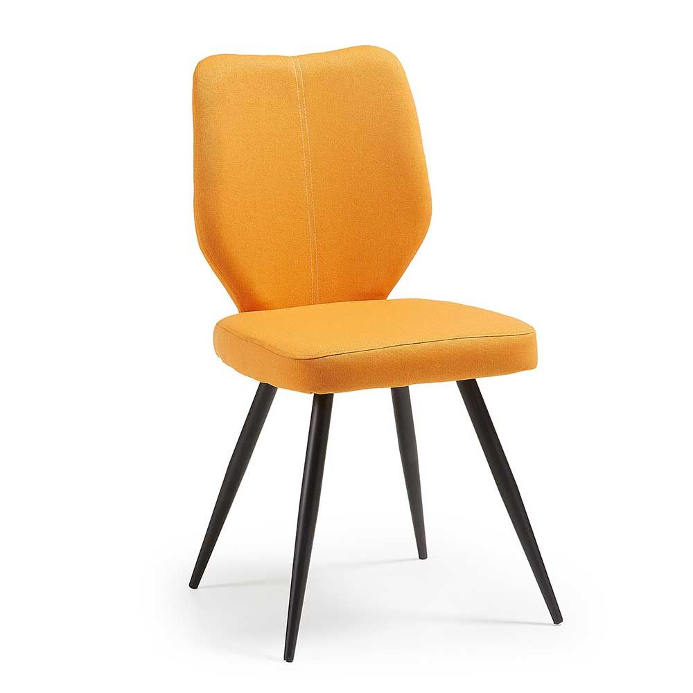 Stuhl Set in Orange Webstoff Schwarz Stahl (4er Set) Jetzt