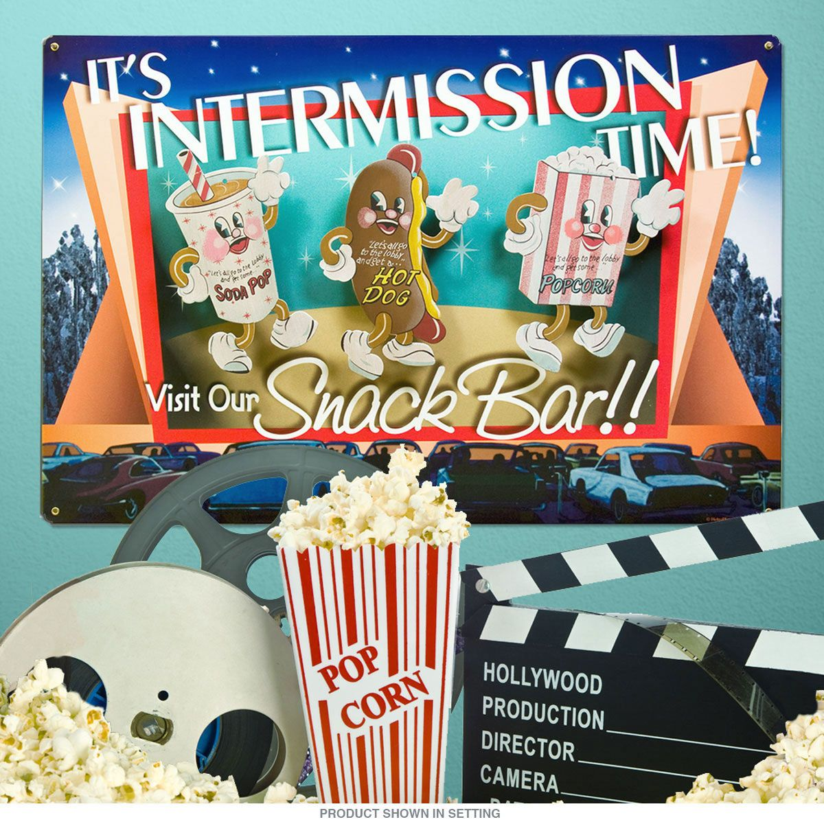 Theater Room Snack Bar: Dancing Snacks Theater Intermission Time Sign Set