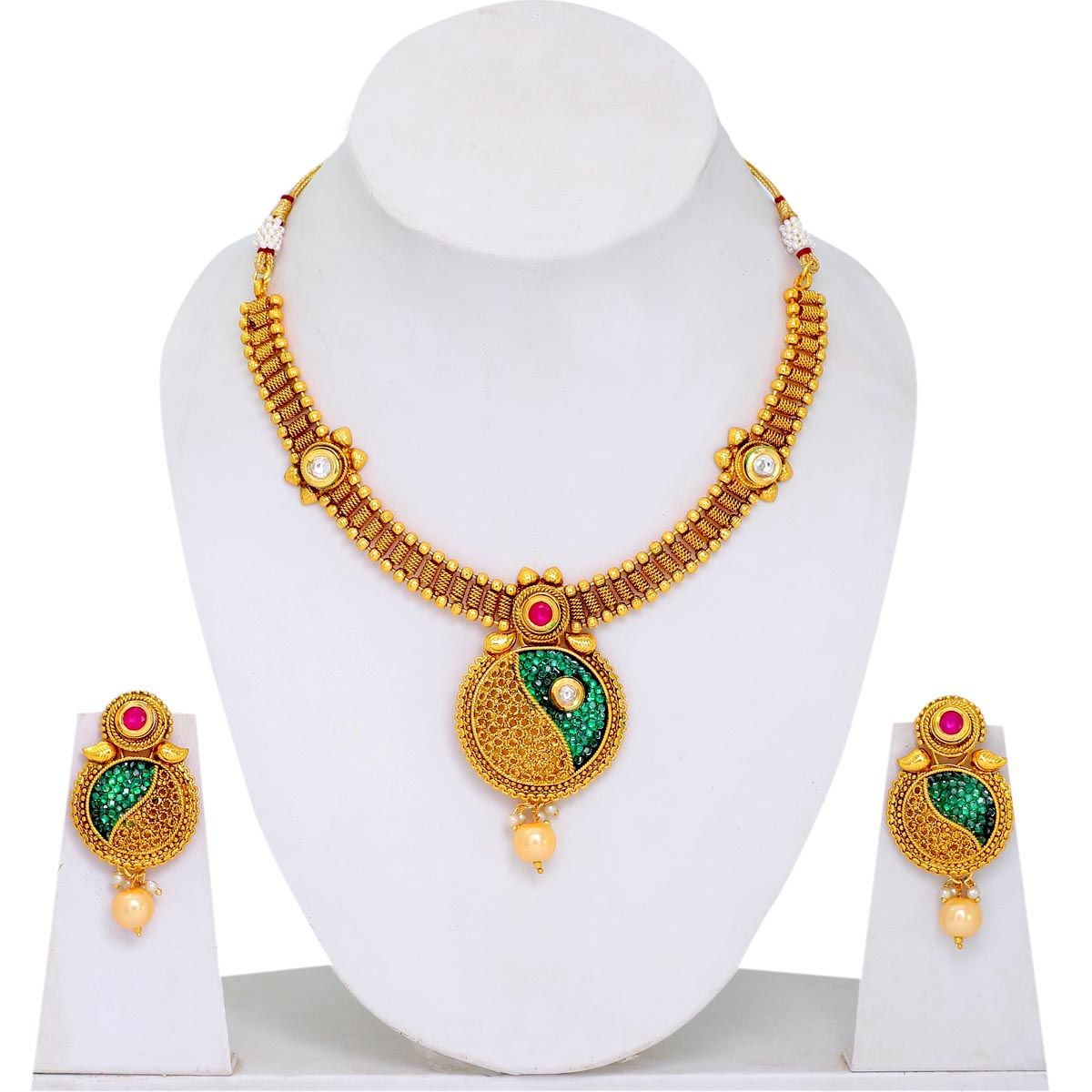 Green Stone Small Rani Haar Necklace set, artificial jewelry ...