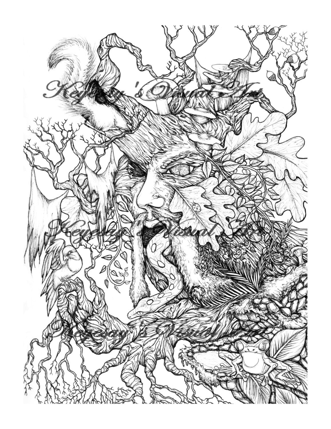 Adult Coloring Page Fantasy Wiccan Green Man Forest Creatures By