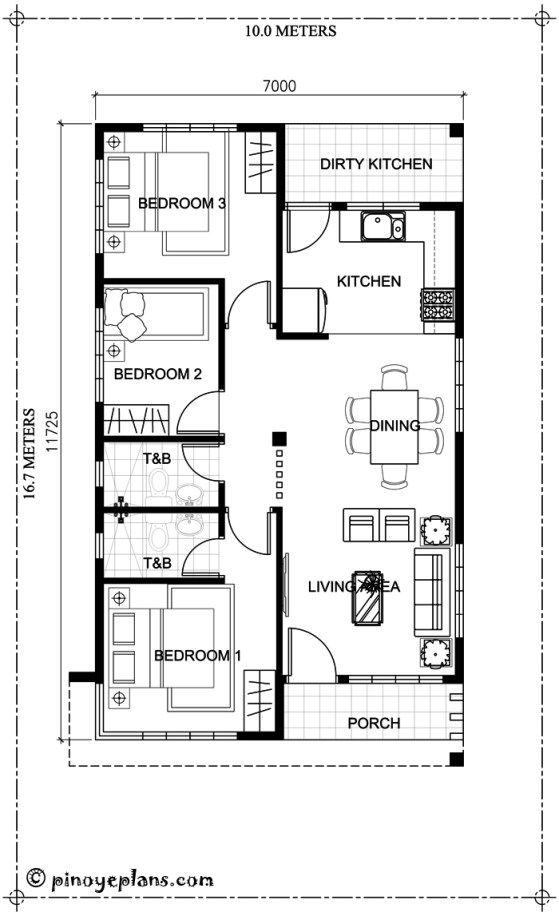 Simple Yet Elegant 3 Bedroom House Design Shd 2017031 Pinoy Eplans Bungalow Floor Plans One Storey House House Floor Design