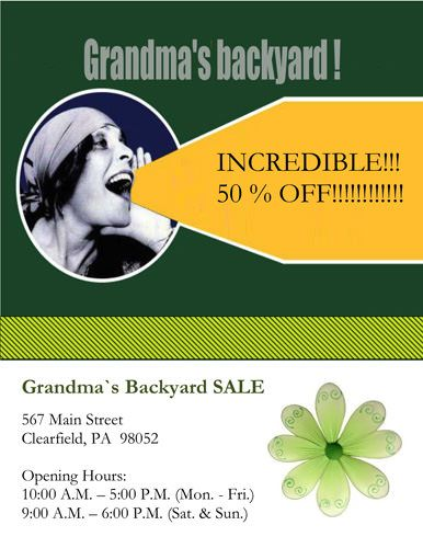 Grandmau0027s Backyard Sale Flyer Template Marketing Flyers - free business flyer templates for word