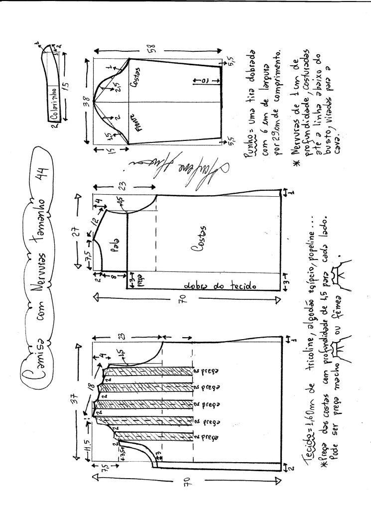 Esquema de modo de camisa de nervios tamanho 44. | لباس | Pinterest ...