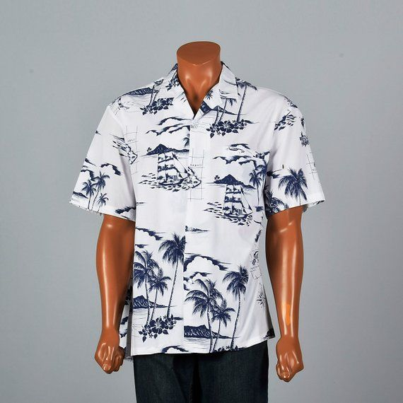 f5f576aac4610b XXL Palm Tree Print Hawaiian Shirt Short Sleeve Square Cut Pocket Blue  Floral Sailing Vintage 80s Bu