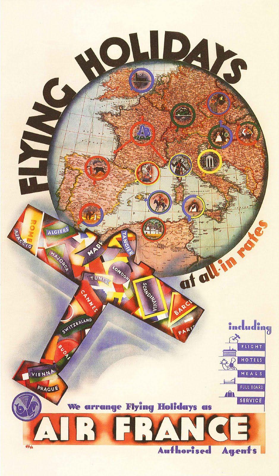 Anciennes affiches d'Air France Couleur bourgogne Air
