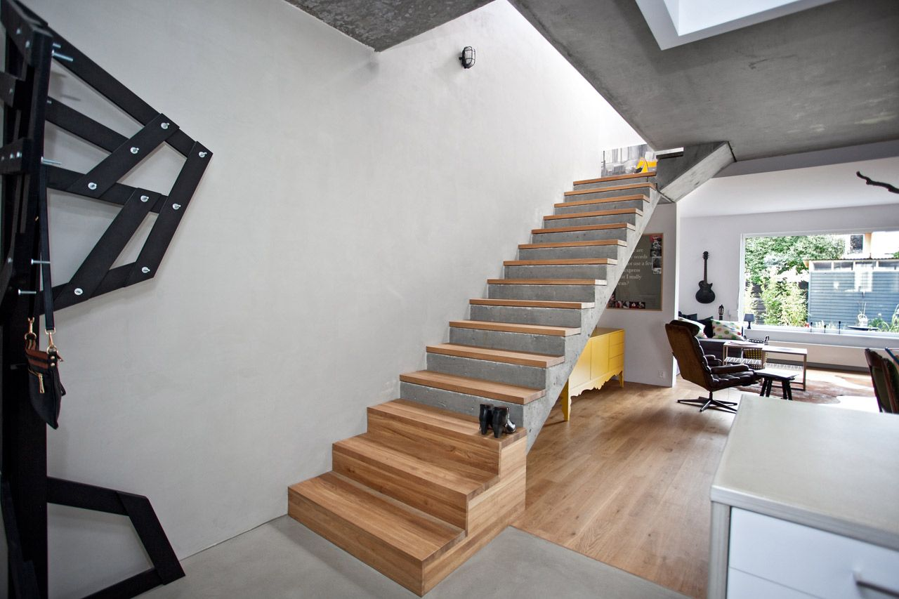 Concrete stairs with wood treads