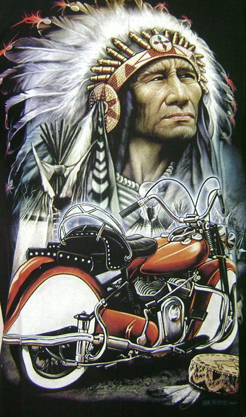 New Vintage Red Indian Chief Motor Tattoo Gift Biker