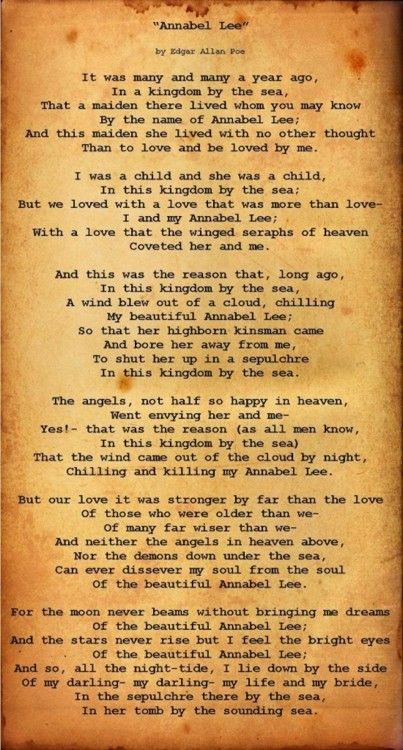 Pin By Taylor Hendricks On Beautiful Words Annabel Lee Poe Quotes Poe