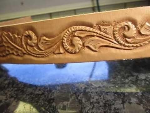 Handmade custom tooled leather belt