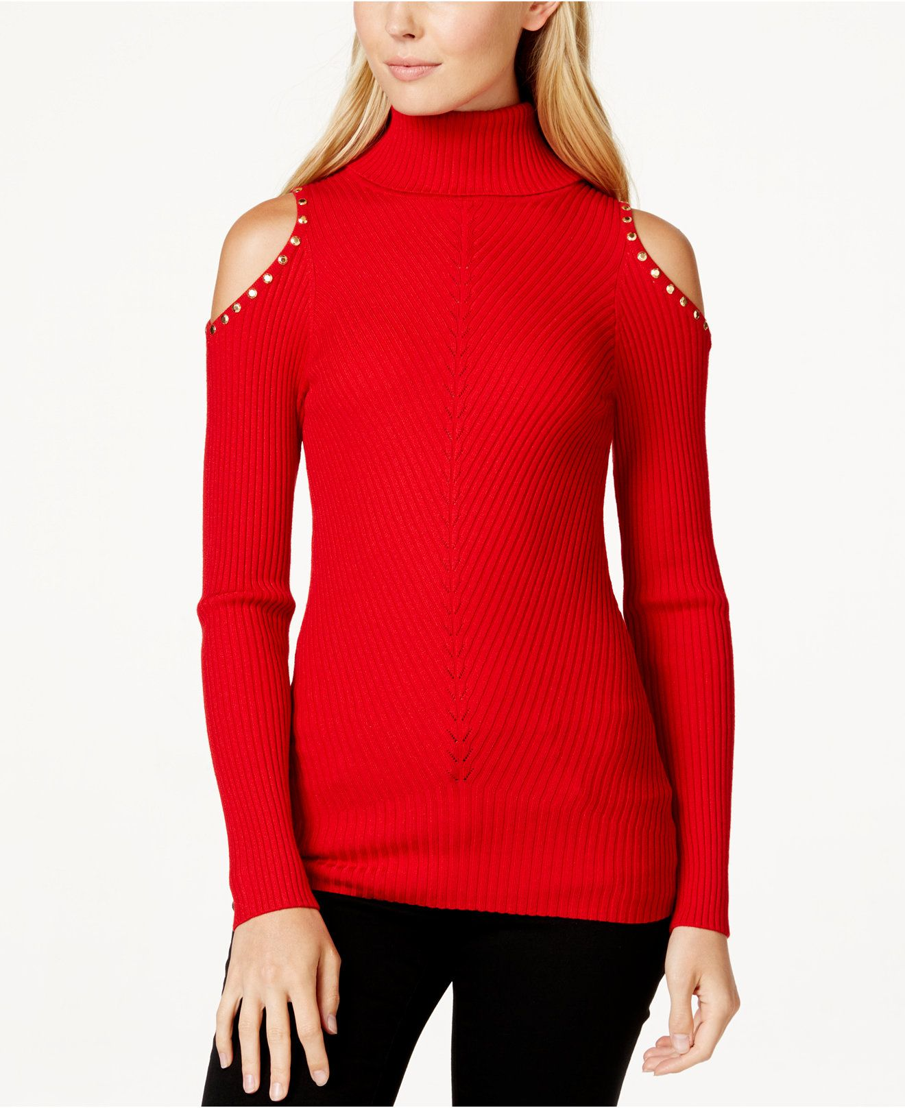 XOXO Juniors' Studded Cold-Shoulder Turtleneck Sweater - Juniors ...