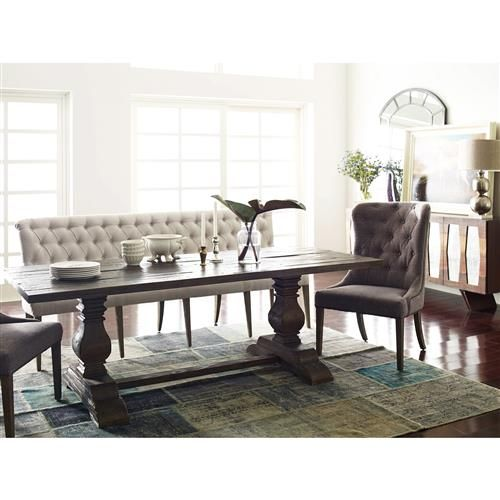 Andrea French Country Tufted White Long Dining Bench Banquette