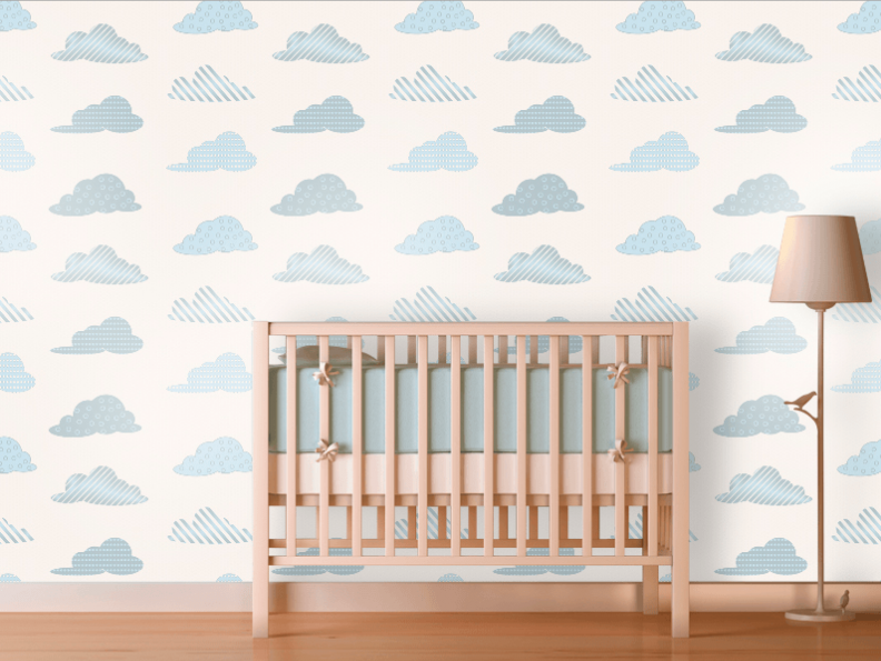 Clouds nursery wallpaper