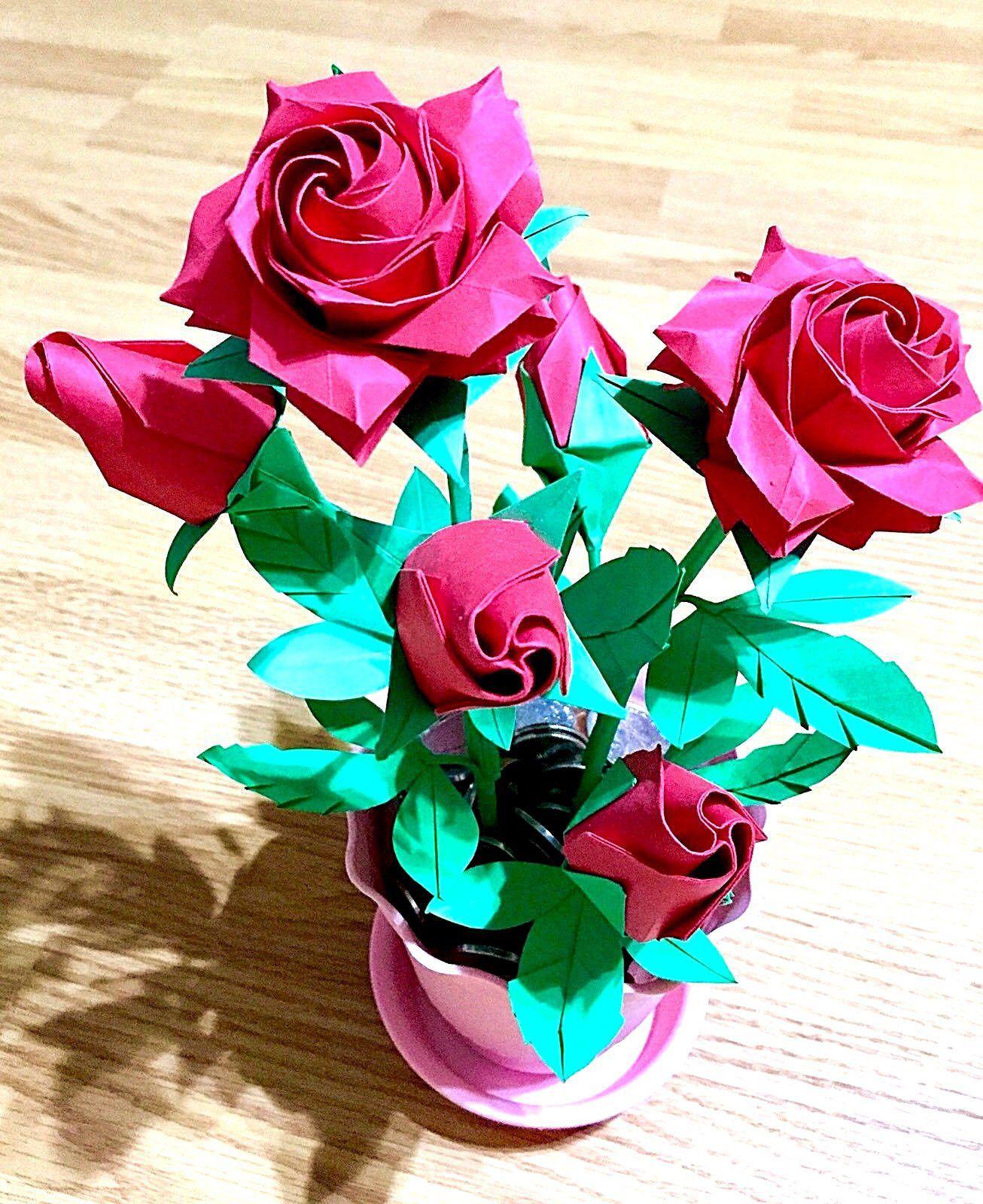 Flower In Pot Paper Roses Origami Pentagon Roses Paper