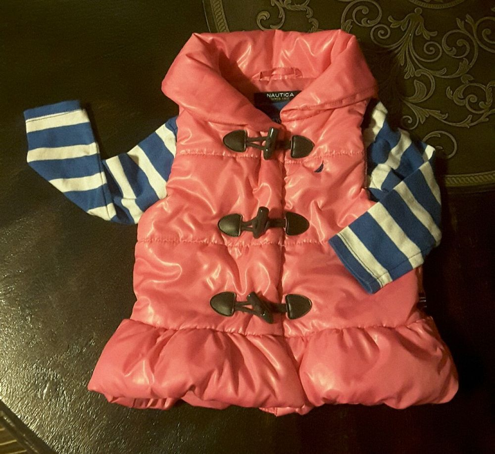 Nautica girls 12 months 2 pc. Outfit pink puffer vest blue white striped shirt…