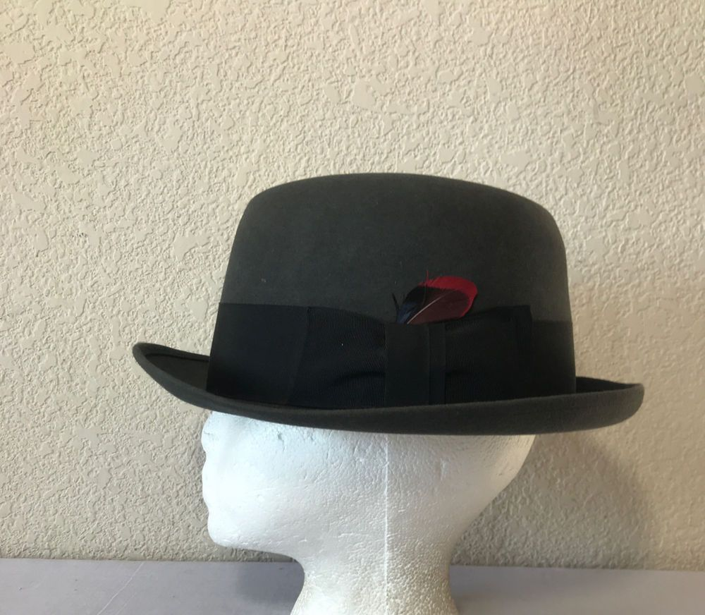 795d42828 Stetson Royal De Luxe Charcoal Gray Feather Fedora Trilby 40s w Box ...