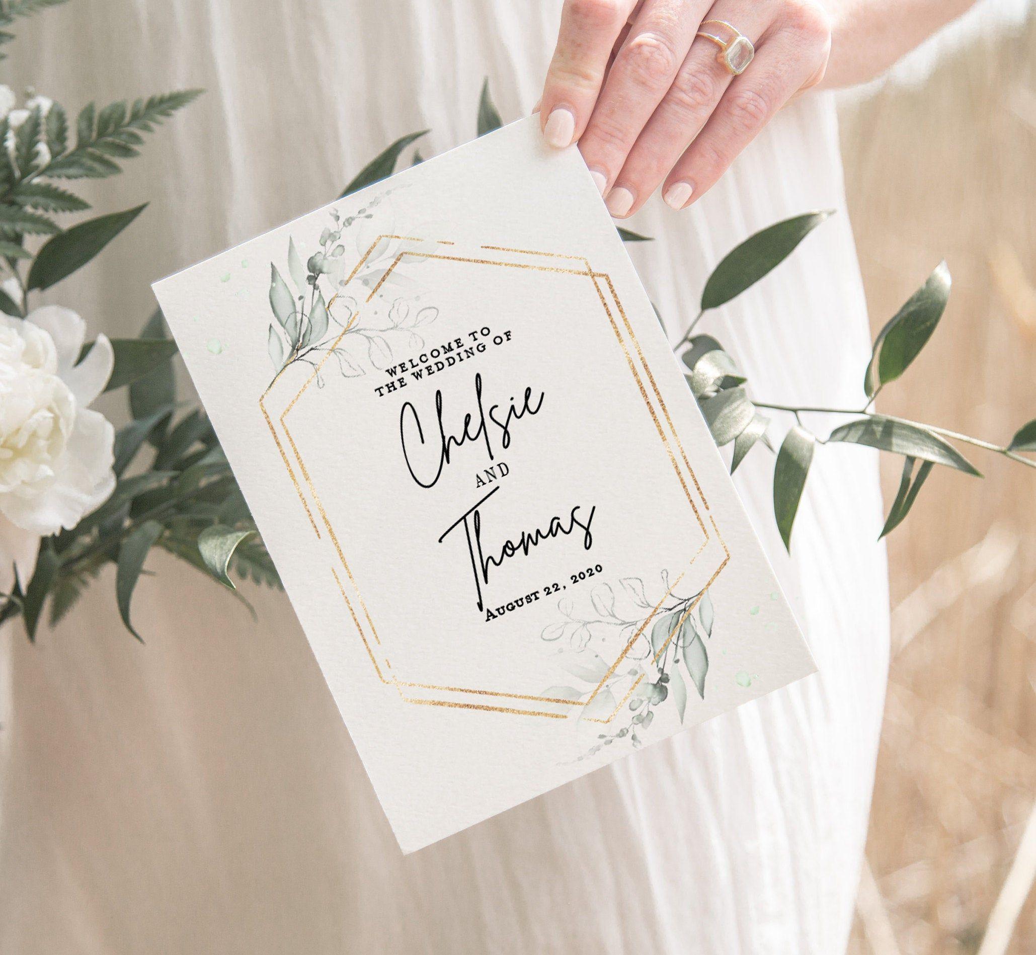Folded Wedding Program Template Green Wedding Program