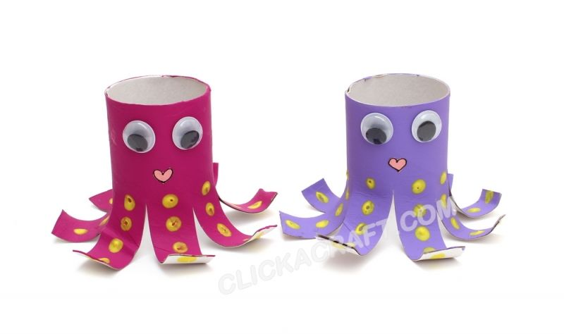 Cardboard Toilet Paper Roll Octopus Friends - Project Ideas of Sea Animals Crafts for Kids  Use with Good Thing You're Not an Octopus