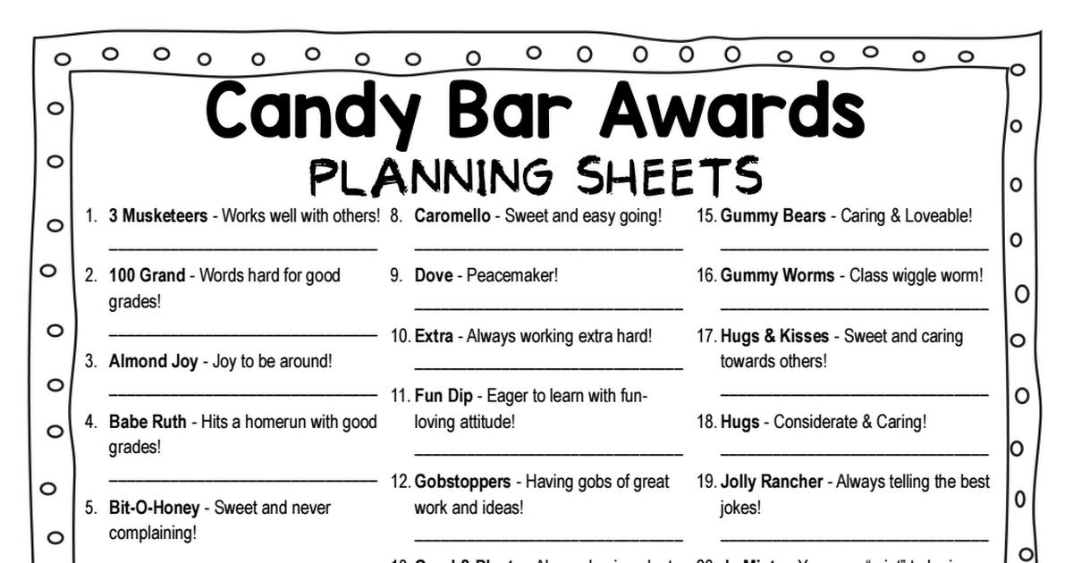 Candy Bar AwardsPlanning SheetsPdf  Coaching Cheerfully