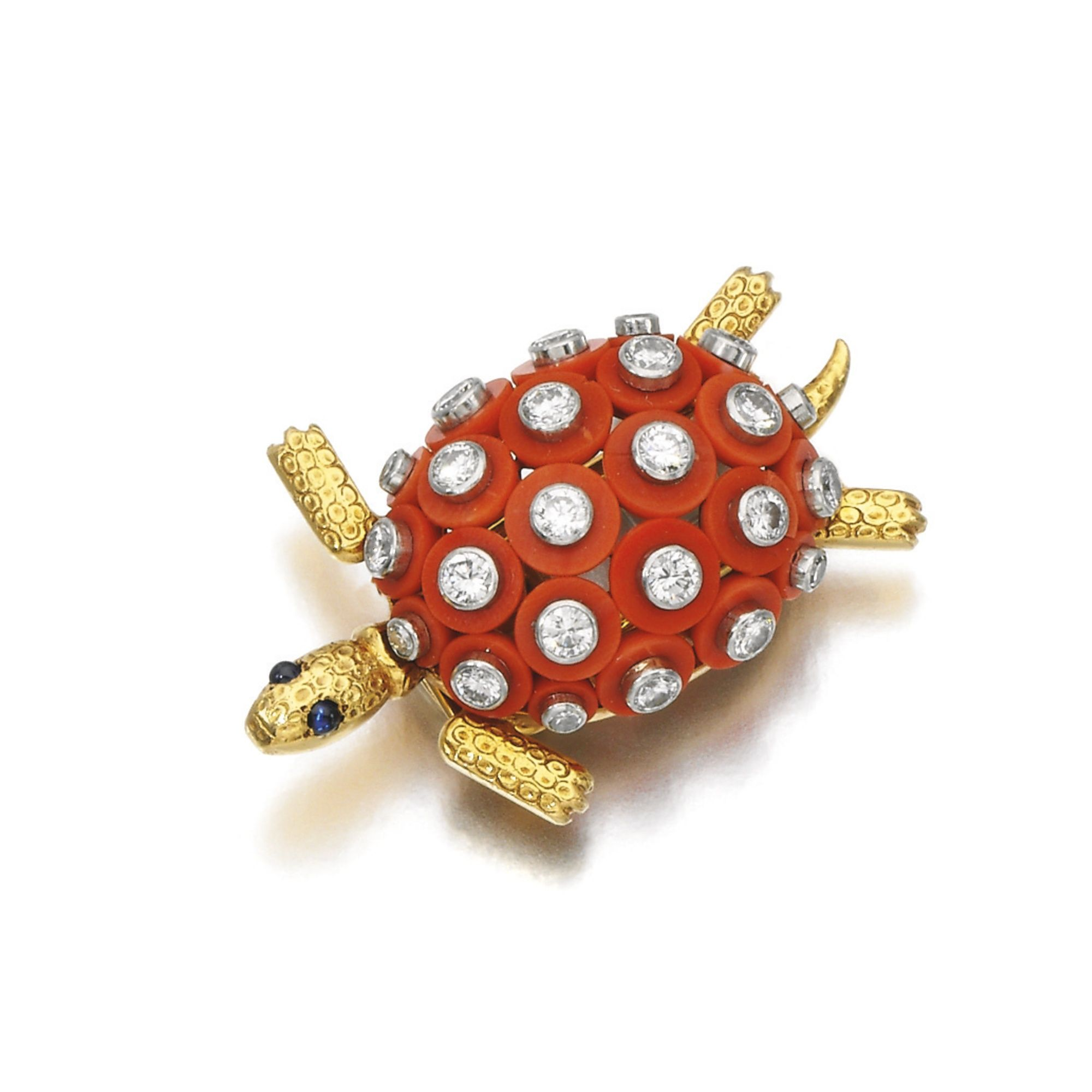 Coral and diamond brooch, Cartier, 1960s Designed as a turtle, the body decorated with coral discs set with circular- and single-cut diamonds, with textured flippers and cabochon sapphire eyes, signed Cartier, numbered, French assay and maker's marks.