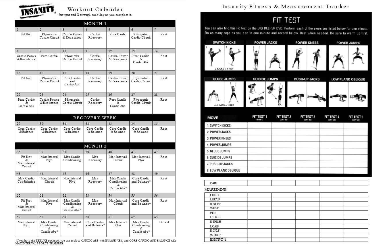 Printable Insanity Workout Calendar Free