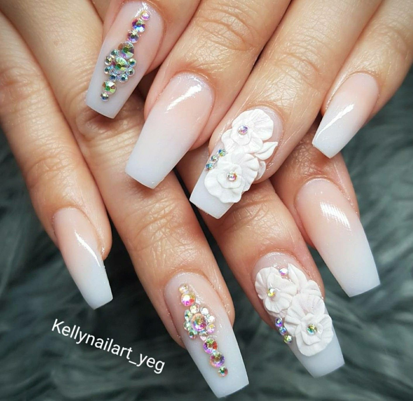 Tapered Square Nails Ombre Nails Nails With Rhinestones 3d Flowers Acrylic Nails Flower Nails Rhinestone Nails Ombre Nails Glitter Tapered Square Nails