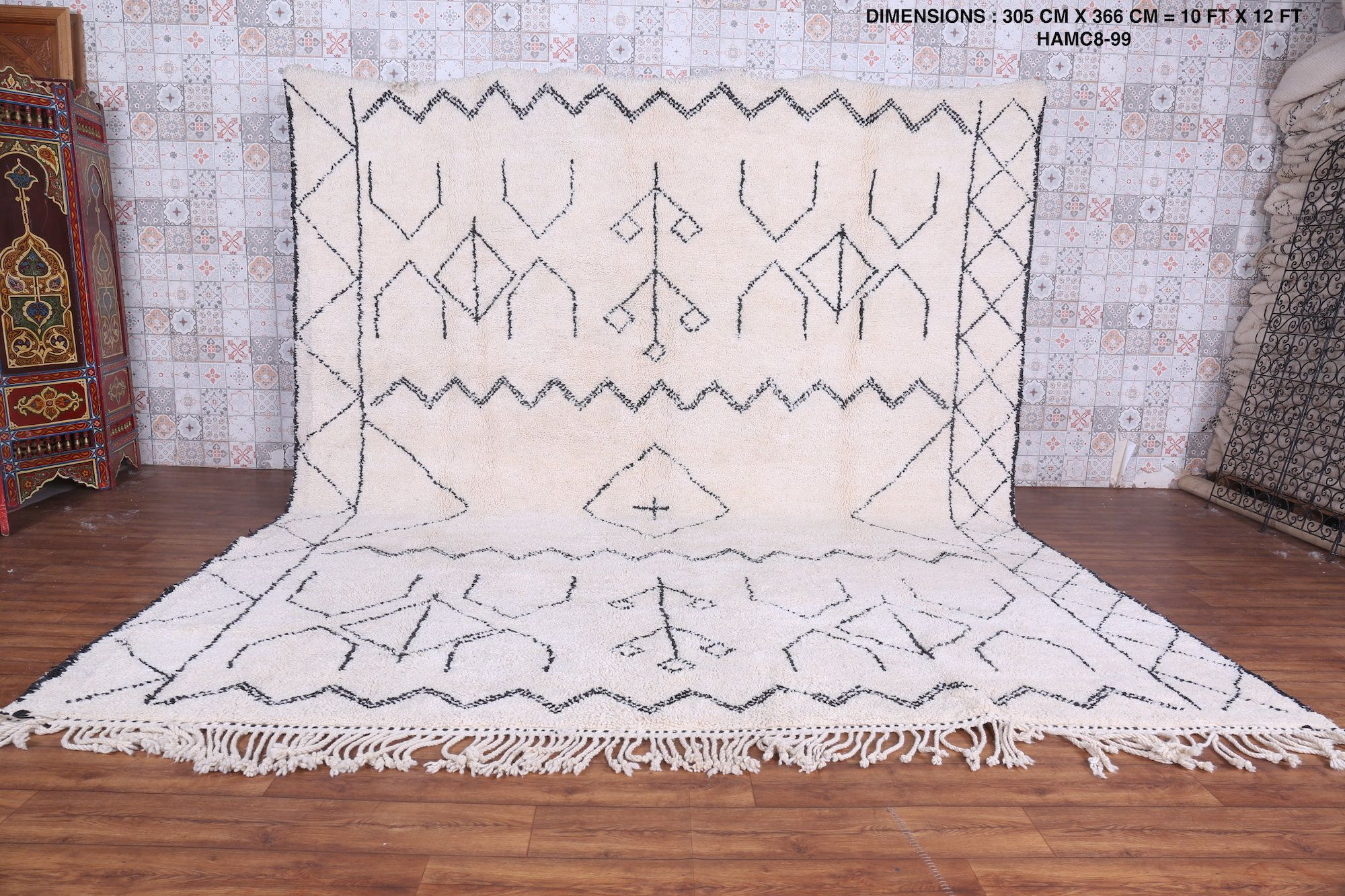 Large White Authentic Moroccan Rug 10ft X 12ft Area Rug Moroccan Wool Vintage Authentic Beni Ourain Area Rug Mor In 2020 Beni Ourain Rugs Moroccan Rug Authentic Rugs