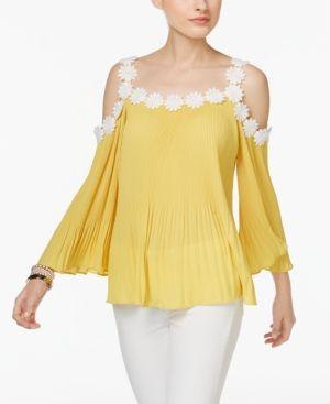 Inc International Concepts Petite Lace Trim Cold Shoulder Top Only