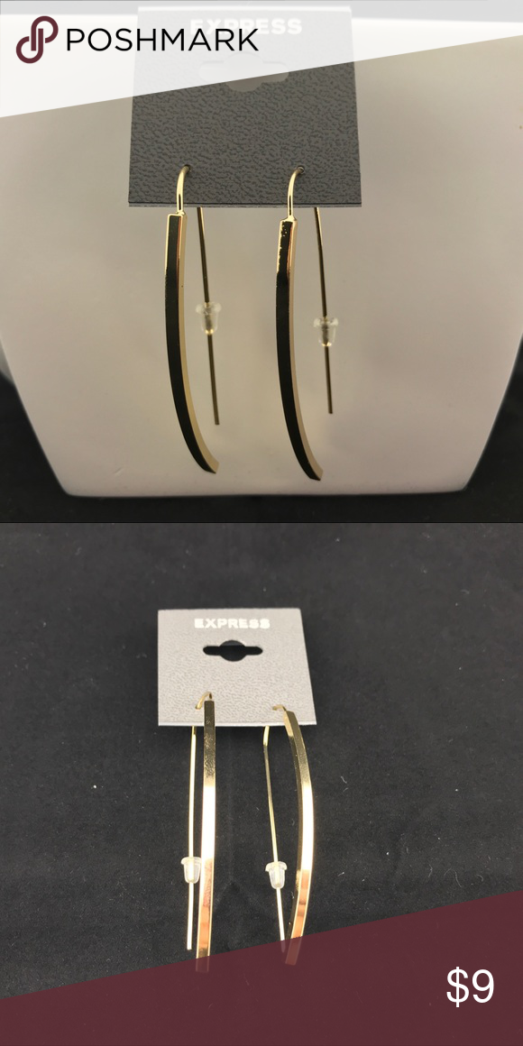 Express Gold Plated Drop Earrings New with retail carding