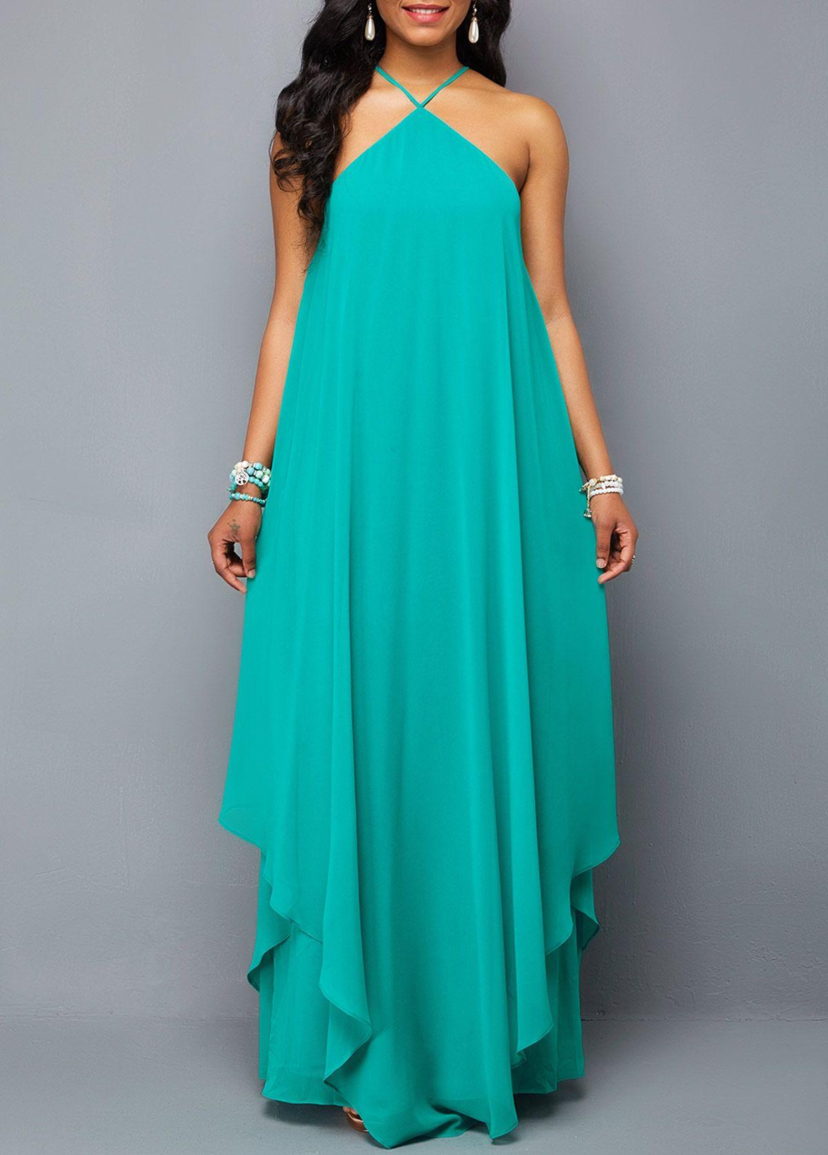 Cross Neck Tie Back Turquoise Chiffon Dress Dress Dresses Chiffondress Afflink Fashion Womensfash Chiffon Dress Women S Fashion Dresses Womens Dresses