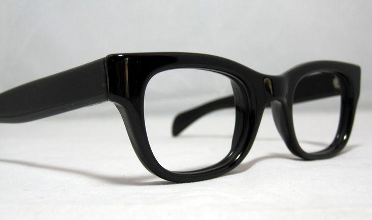 99d0aaa37f42 chunky black rimmed glasses men | Vintage Eyeglasses. Mens Solid Black Horn  Rim Frames | Menswear