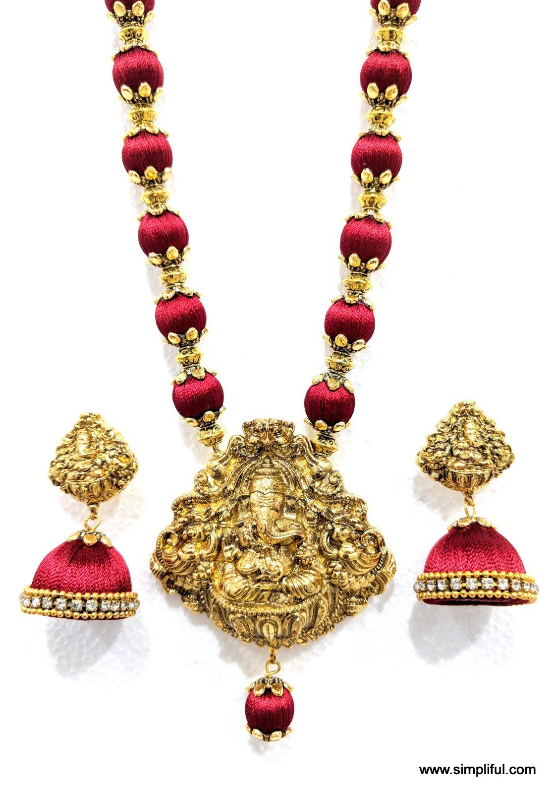 Silk thread lord ganesha pendant long chain necklace and single
