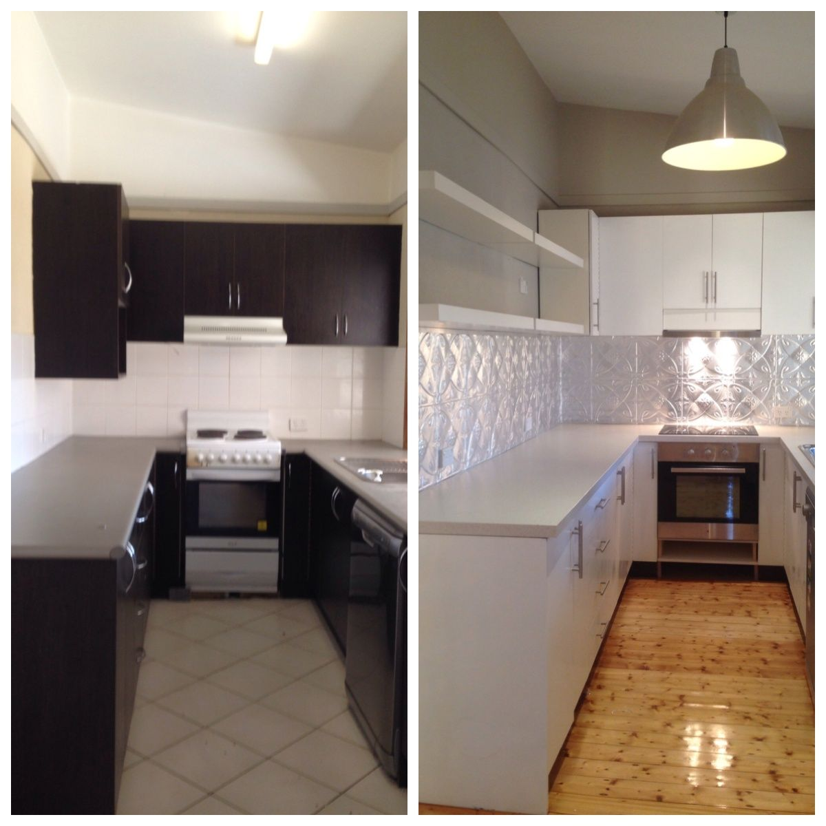 Before & After kitchen renovation with pressed tin splashback. http ...
