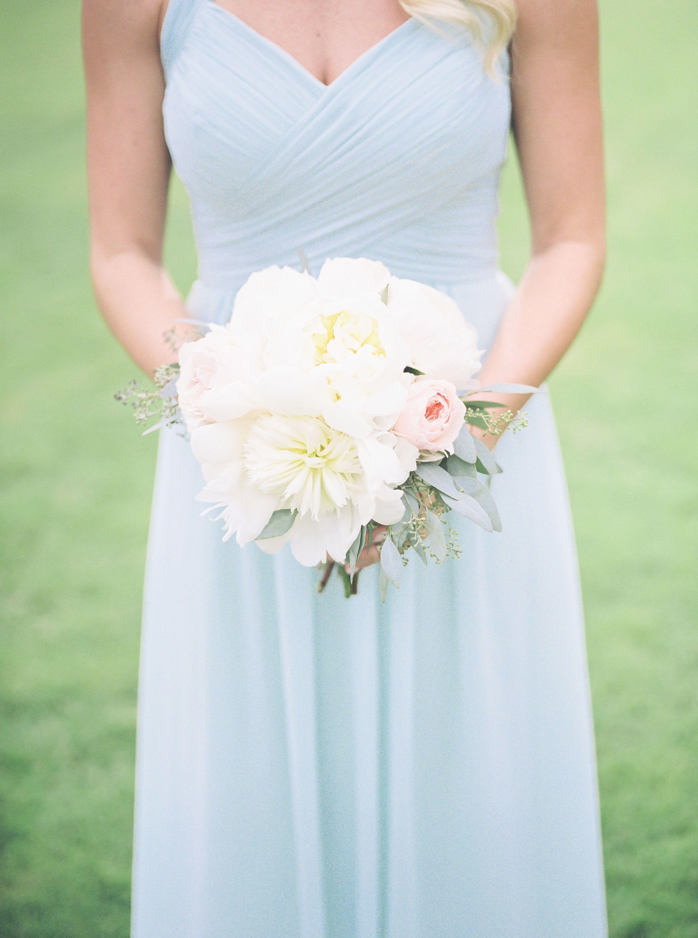 Light blue bridesmaid dress with white wedding bouquet nc wedding