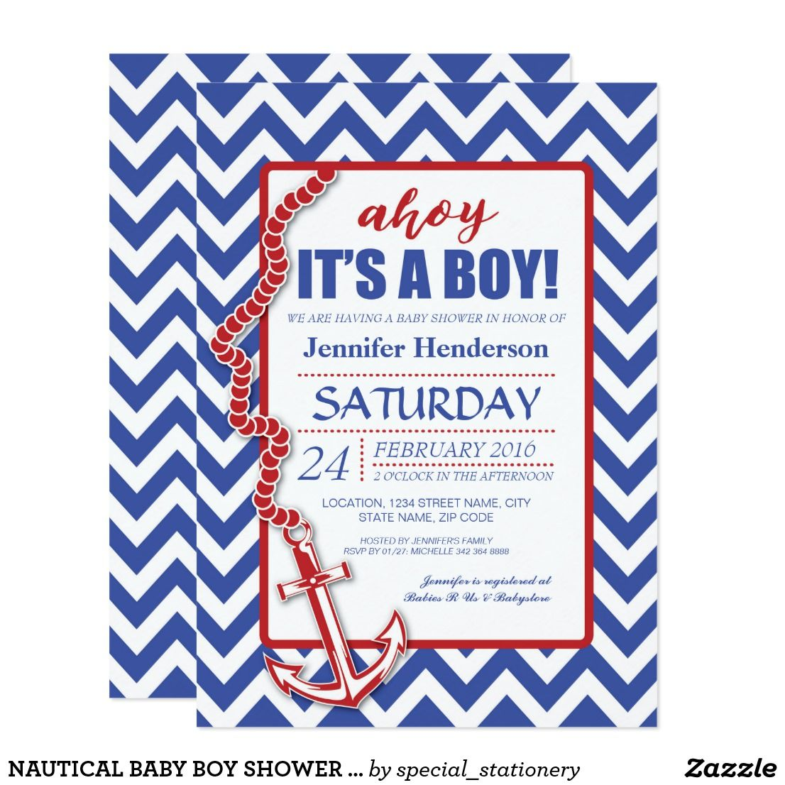 NAUTICAL BABY BOY SHOWER INVITATIONS | NAVY & RED | Invites: Baby ...
