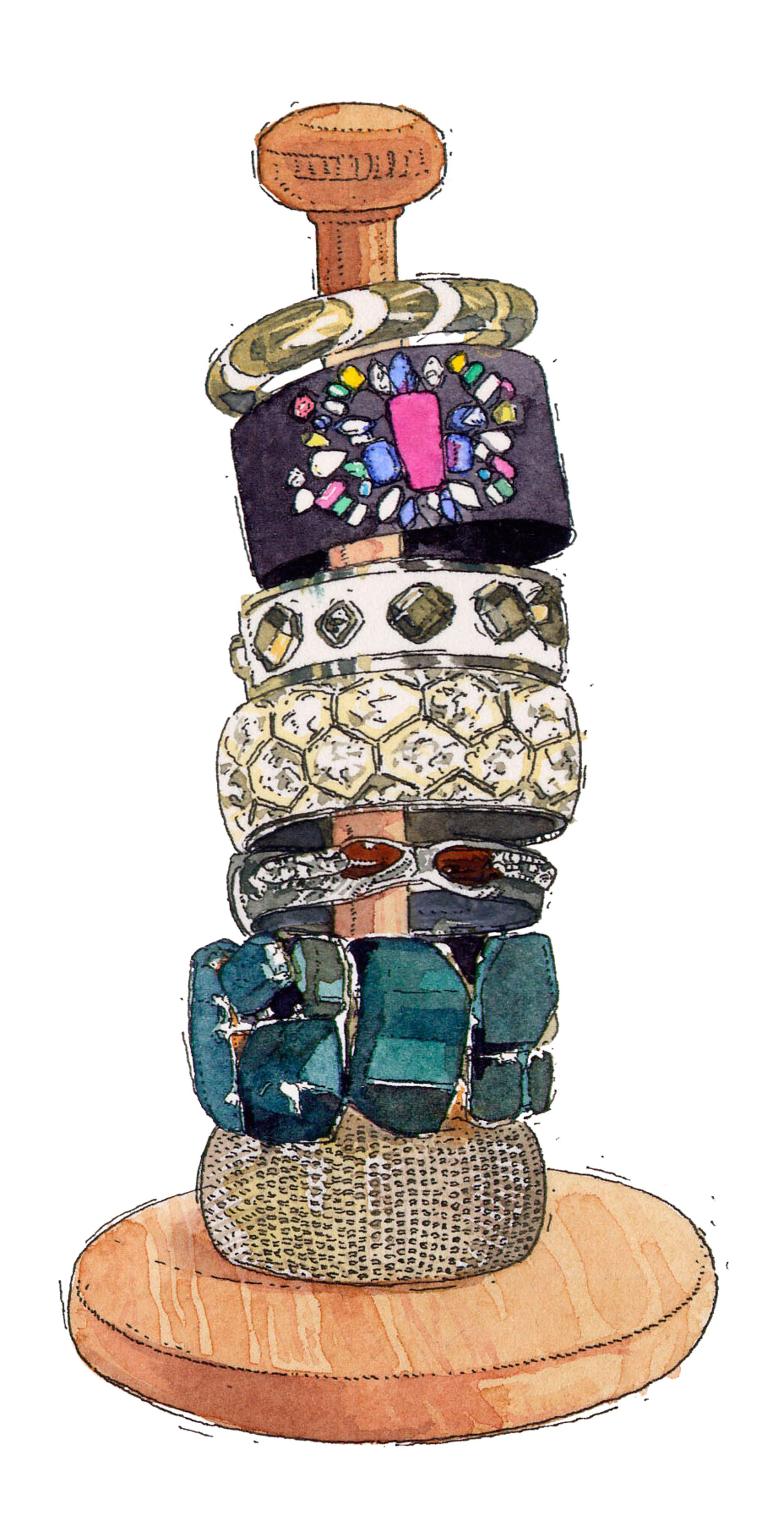Avoid a jumbled jewelry box by stacking bangles and cuffs on a paper-towel holder. It'll be so much easier to survey your options. James Noel Smith - Redbook.com