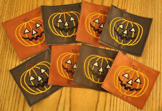 4 Eco Coasters Embroidered Pumpkins by TheBuckeyeandtheFrog