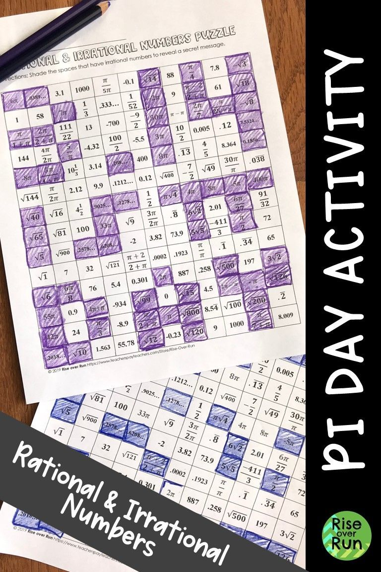 Pi Day Acitivity Rational And Irrational Numbers Fun Math Activities Algebra Resources Irrational Numbers [ 1152 x 768 Pixel ]