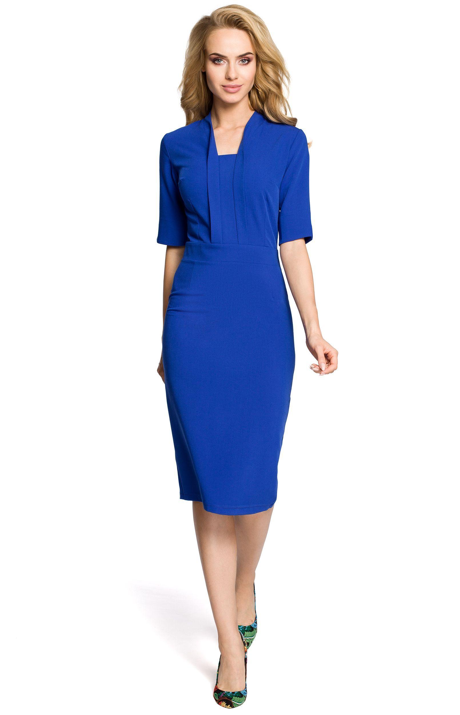 002020f2653 Robe+fourreau+bleue+col+châle+avec+petites+manches.