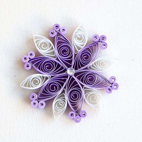 6 point small lilac and white quilled snowflake with silver diamante | Flickr - Photo Sharing!
